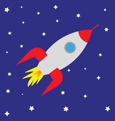 Cartoon rocket in starry sky vector