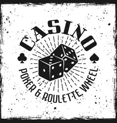 Casino emblem with gambling dice vector