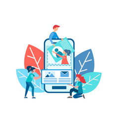 characters work in a team to develop a mobile vector image