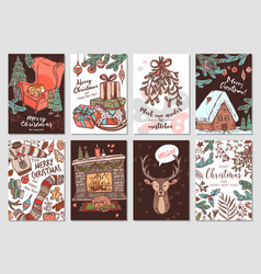 collection christmas and new year cards vector image