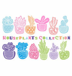 collection hand drawn houseplants vector image