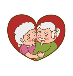 Couple elder heart kiss vector