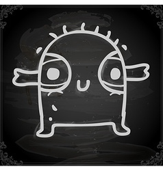 Cute Creature Drawing on Chalk Board vector