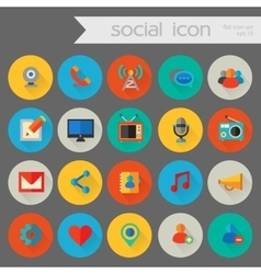Detailed social icon set vector image
