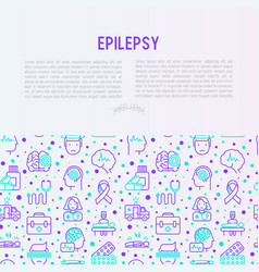Epilepsy concept with thin line icons vector