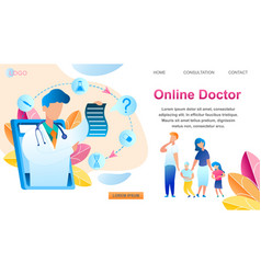 Family consultation online doctor using tablet vector
