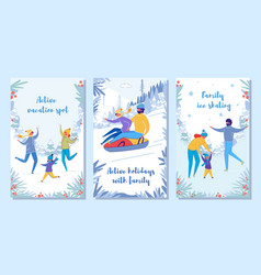 Family winter holiday vacation and activity set vector