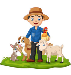 farmer with farm animals in grass vector image
