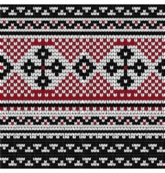 Folk knitting pattern with cross vector