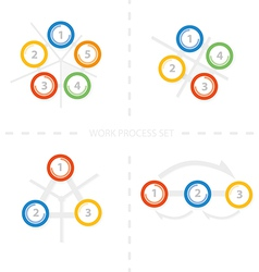Four set colorful design for workflow layout di vector