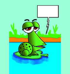 Funny green frog speaking vector
