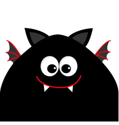 Funny monster head silhouette with big eyes fang vector