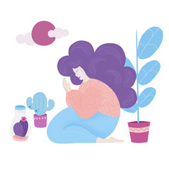 girl prays meditates while sitting on her lap vector image