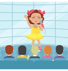 Girl singing song in front audience vector