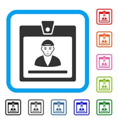Guy access card framed joy icon vector