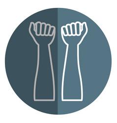 Hands human raised icon vector
