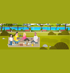 Happy people having picnic in park group of young vector