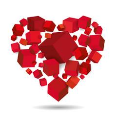 heart cubes 3d geometric vector image
