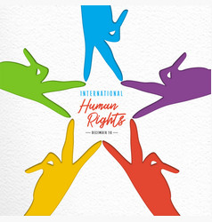 human rights day card diverse people hands vector image