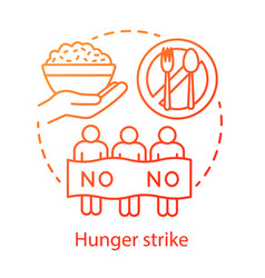 Hunger strike concept icon voluntary food refuse vector