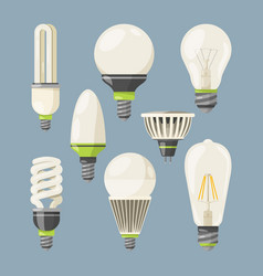 Incandescent bulbs halogen and other different vector