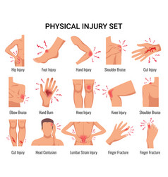 Injury flat set vector