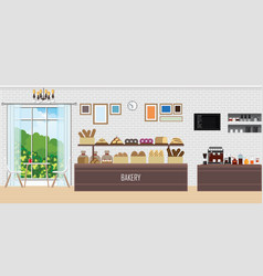 interior modern bakery shop with display vector image