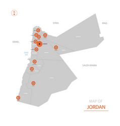 Jordan map with administrative divisions vector