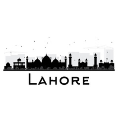 Lahore City skyline black and white silhouette vector