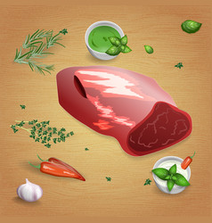 Lamb fillet with tasty sauces and spices vector