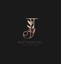 Letter j botanical elegant minimalist signature vector