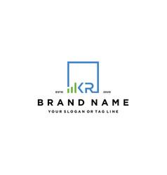Letter kr square logo finance design vector
