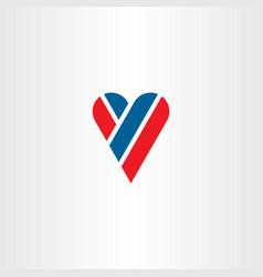 letter y heart love logo icon vector image