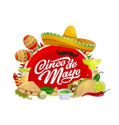 Mexican holiday sombrero and cinco de mayo maracas vector