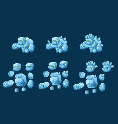 mini character stone ice monster kit vector image