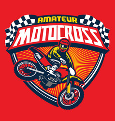 Motocross event badge vector