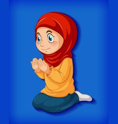 muslim girl practice religion vector image