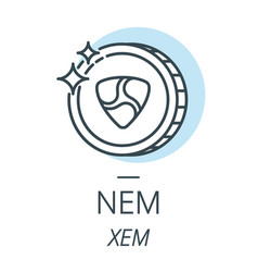 nem cryptocurrency coin line icon of virtual vector image