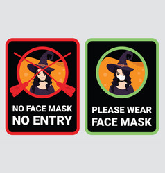 no face mask entry to prevent covid-19 vector image