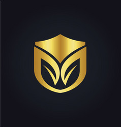 Organic shield gold logo vector