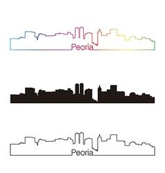peoria skyline linear style with rainbow vector image