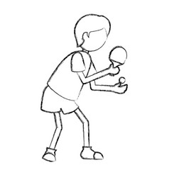 ping pong player silhouette vector image