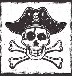 Pirate skull in hat and two crossed bones vector