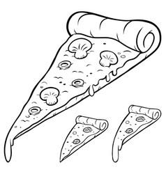 Pizza slice line art vector