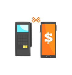 Pos terminal confirming the payment using vector