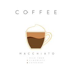 poster coffee macchiato white vector image