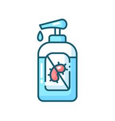 Pump bottle sanitizer blue rgb color icon vector