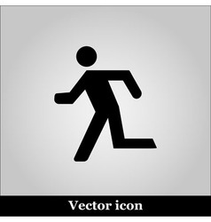 Running man icon on grey background vector image