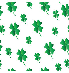 saint patricks day pattern with four leaf clover vector image