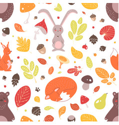 seasonal seamless pattern with adorable wild vector image